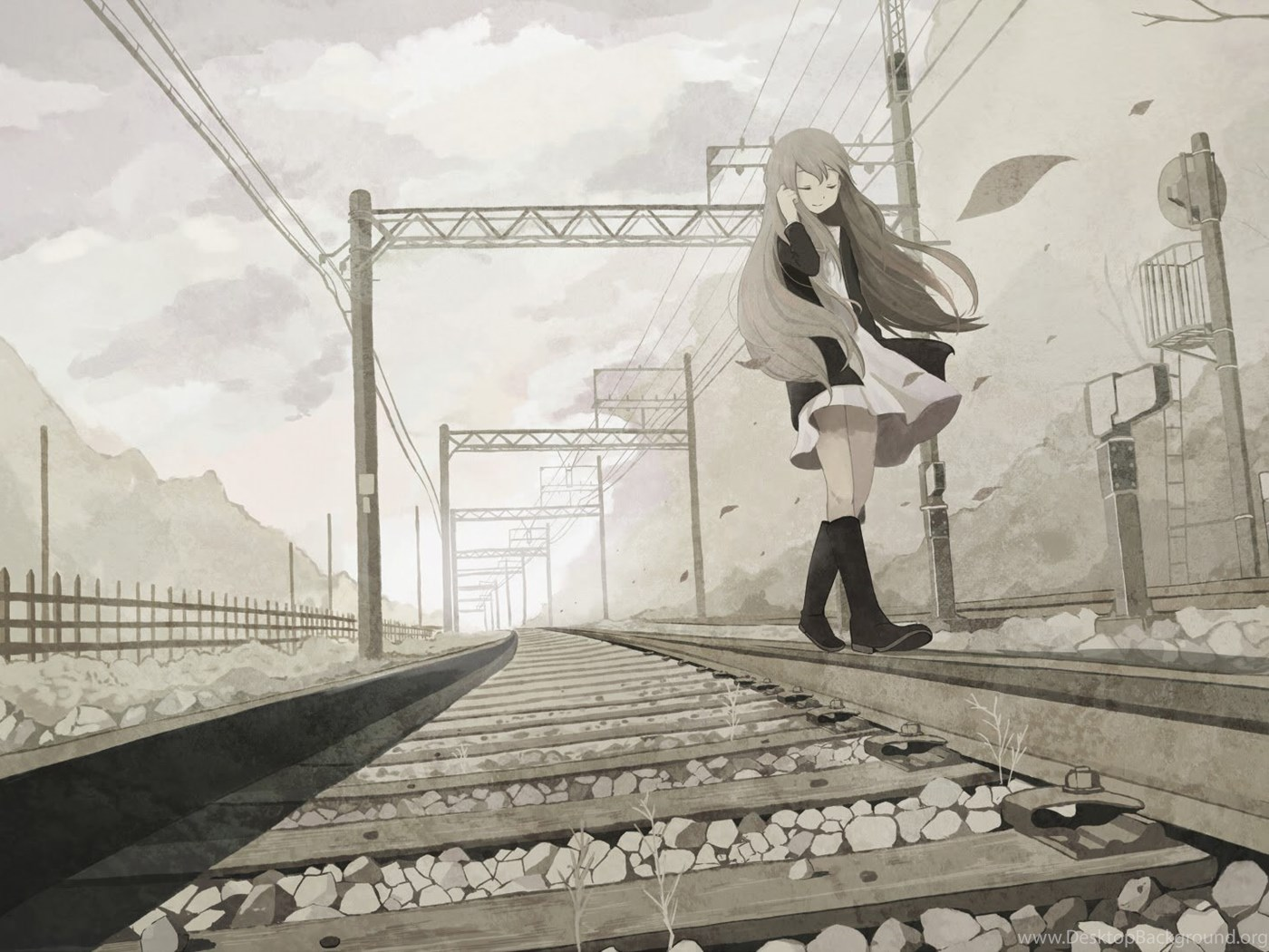 Anime Girl Black And White Wallpapers Desktop Background