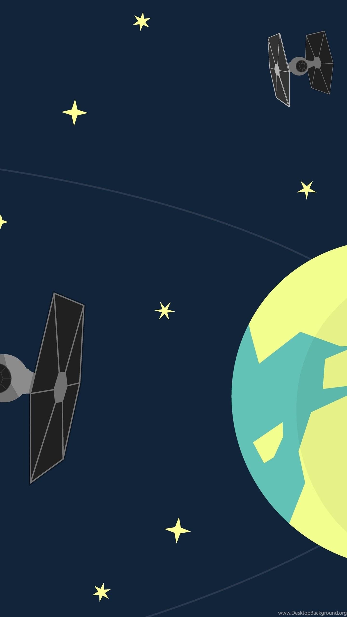 Minimalism Star Wars Artwork Earth Death Star Tie Fighter Desktop Background
