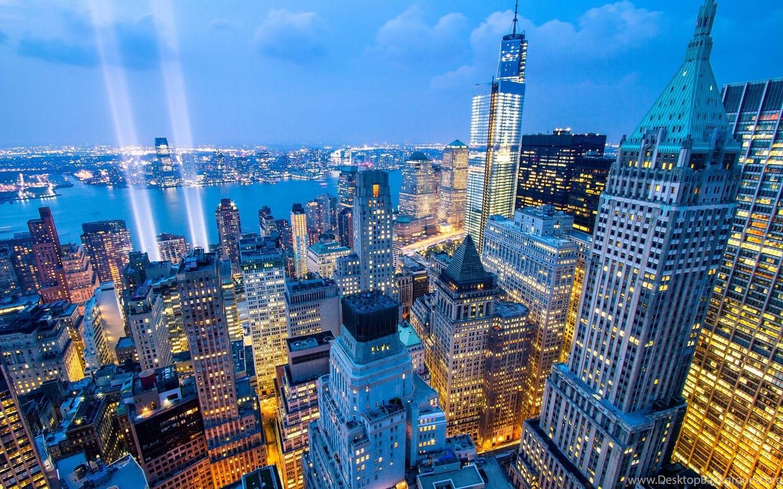 New york city new york night city skyline buildings skyscrapers desktop background - Skyline night wallpaper ...
