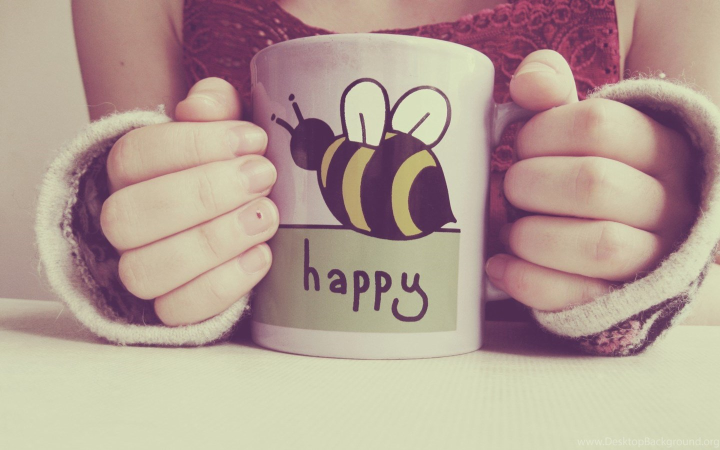 Girl Mug Happy Bee Mood Photo Picture Vintage Hd Wallpapers