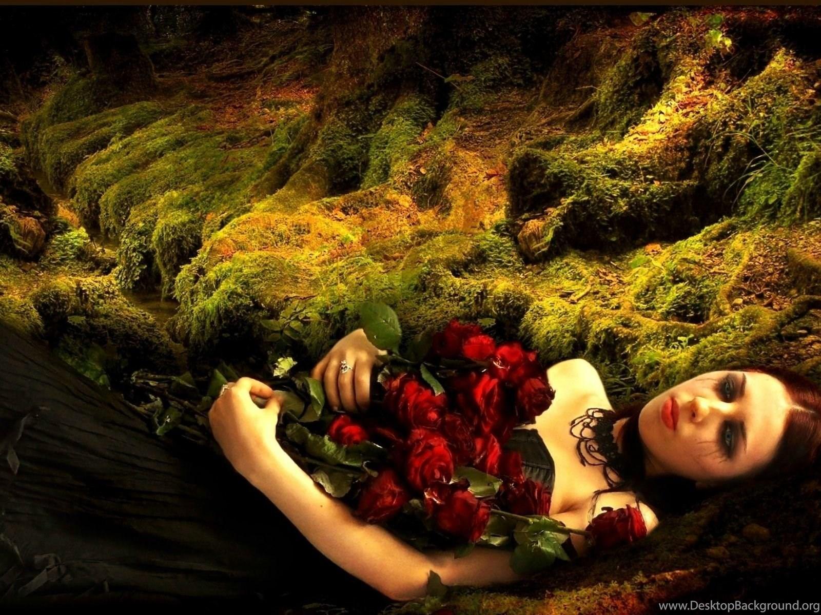 Dark Gothic Women Flowers Mood Sad Sorrow Love Romance Vampire ...