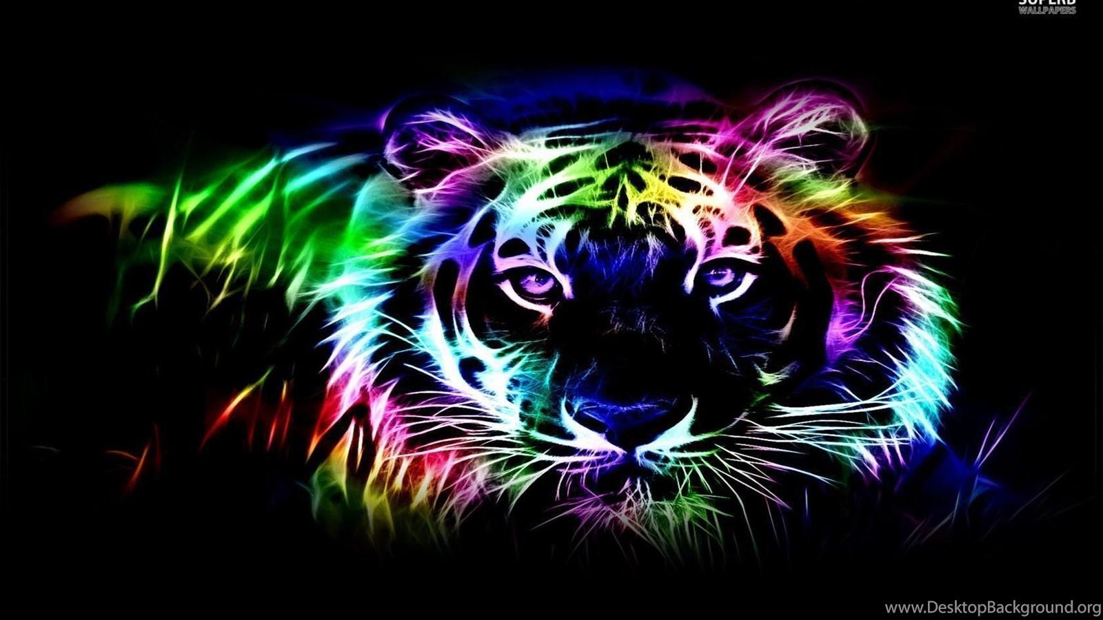 cool neon tiger backgrounds desktop background