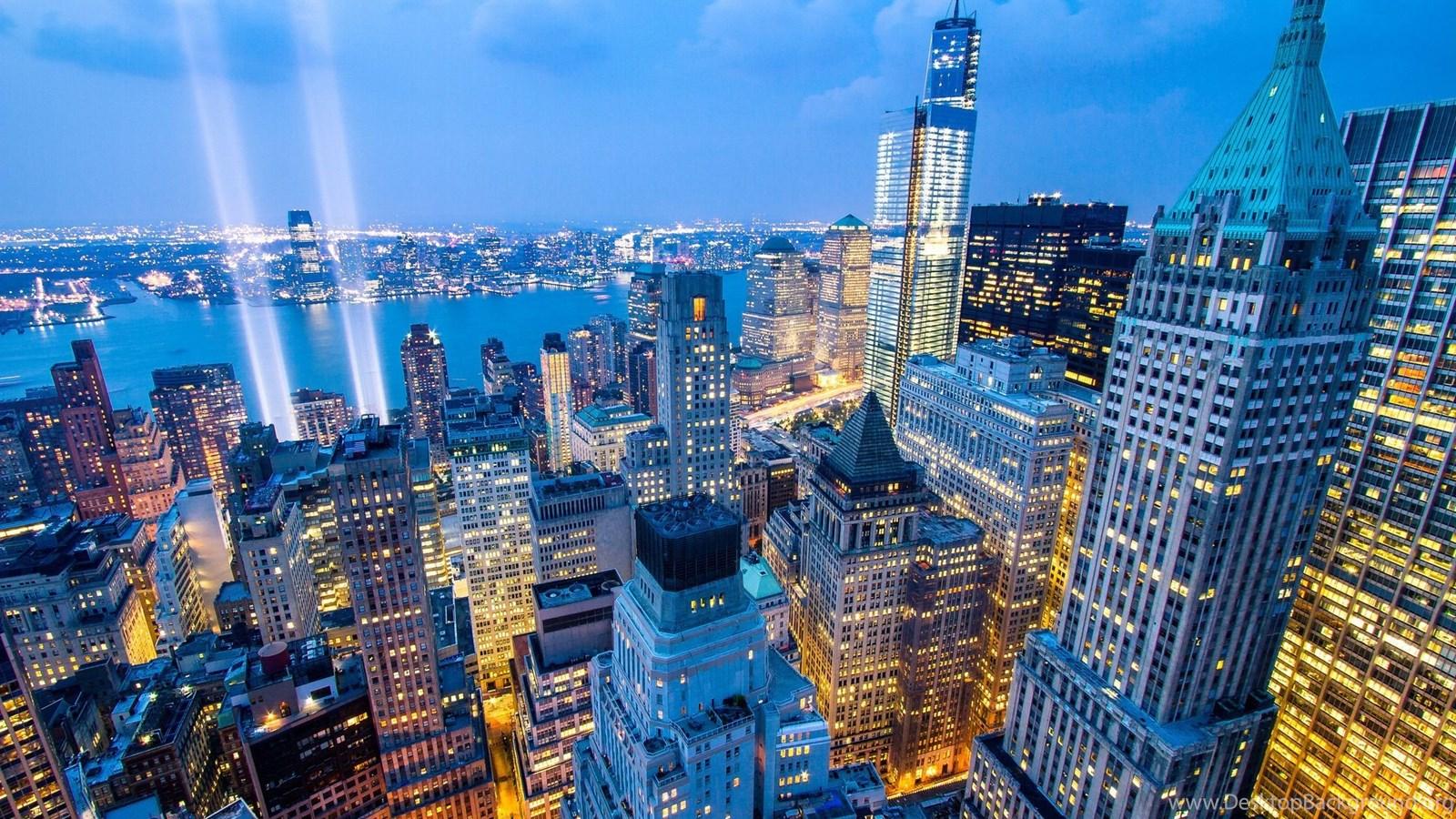 New York City New York Night City Skyline Buildings