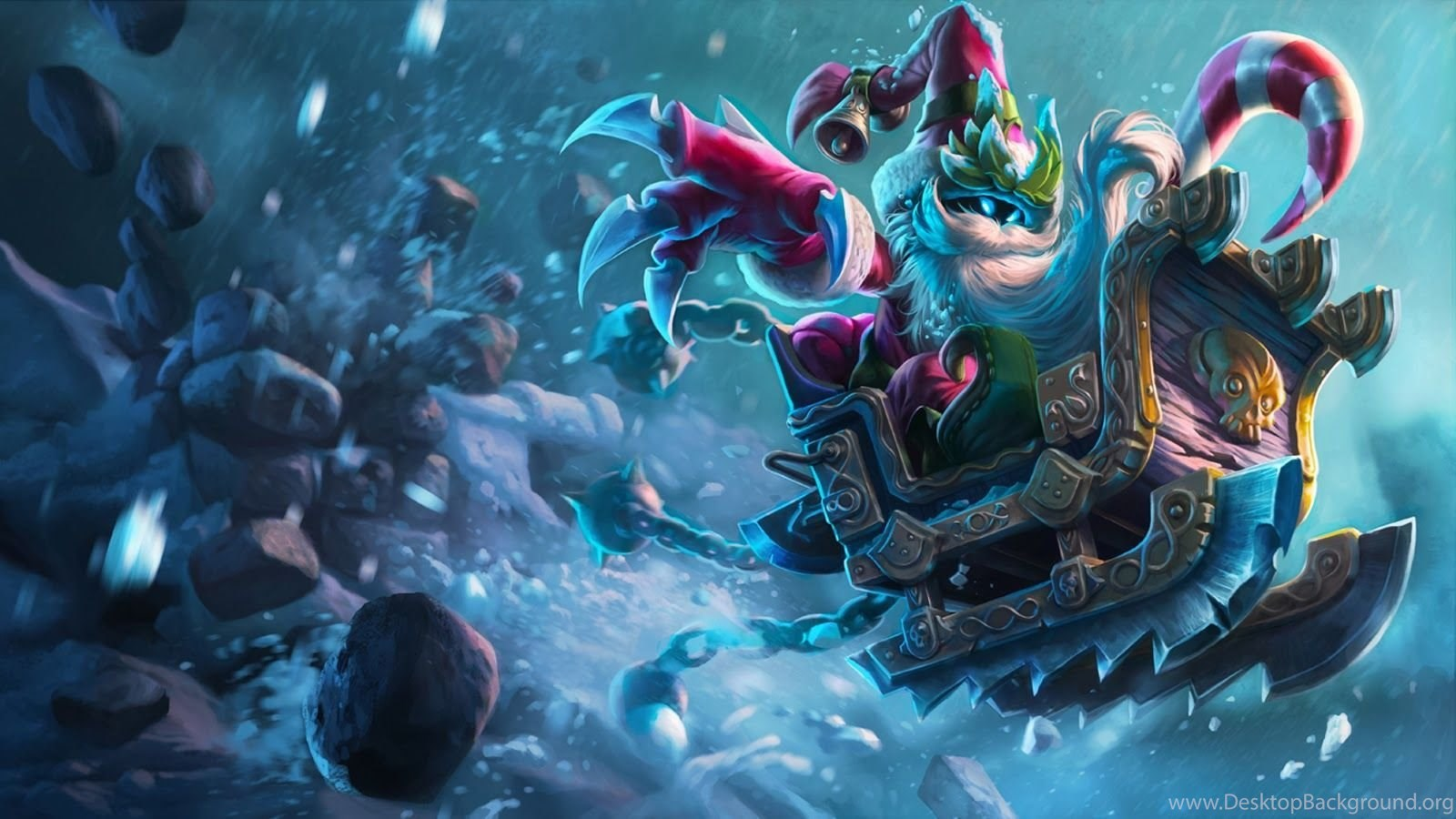 Christmas Santa Sleigh Veigar Hd Wallpaper League Of Legends