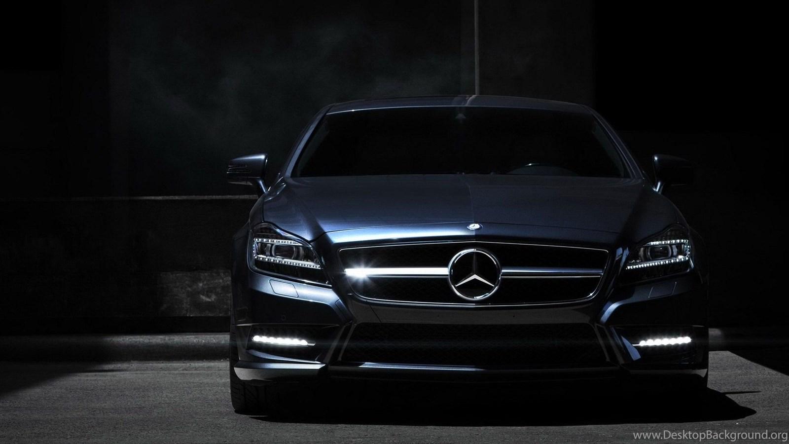Mercedes Benz Front Black Car Night Hd Wallpapers Desktop Background