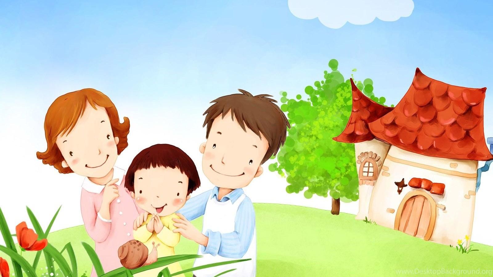 Картинки о родителях и детях нарисованные, днем