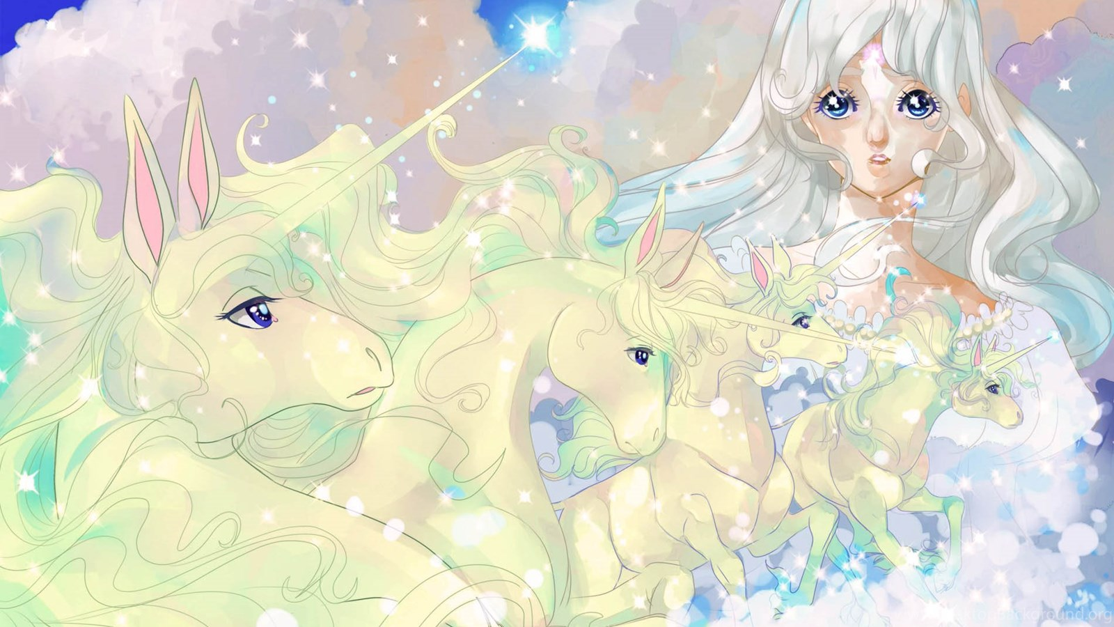 the last unicorn The last unicorn is the story of a unicorn living alone in a wood that finds out she's the last and goes searching for her people along the way, she meets a bumbling wizard named schmendrick, a feisty woman named molly, and eventually a layabout prince named lir.