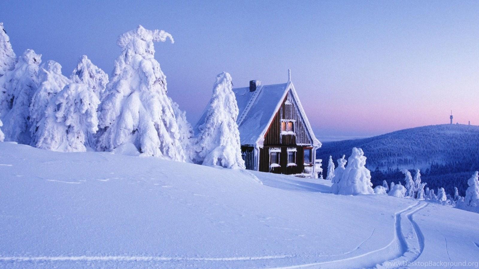 New Winter Cabin Christmas Scene Log Deep Snow Wallpapers Desktop Background