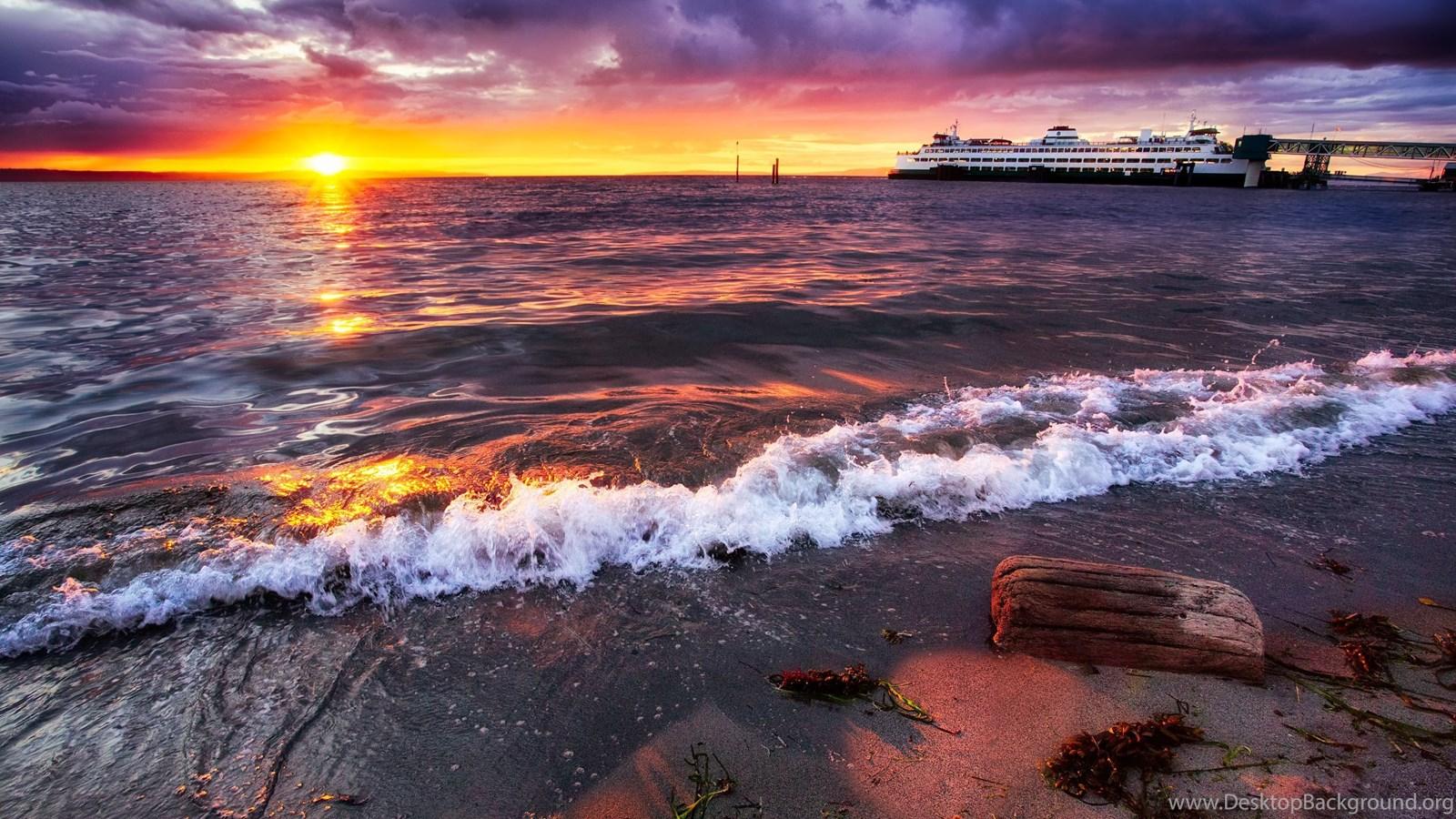 Beautiful Beach Sunset Edmonds Washington Sunset Wallpapers
