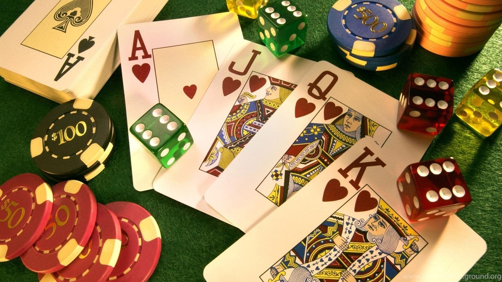 Poker Cards Dice And Chips Wallpapers Desktop Background
