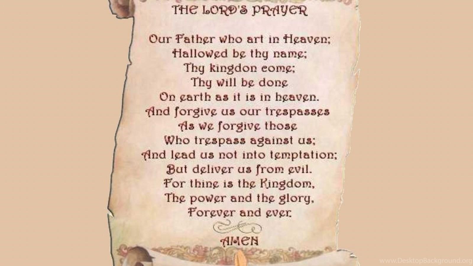 the lords prayer on scroll desktop background