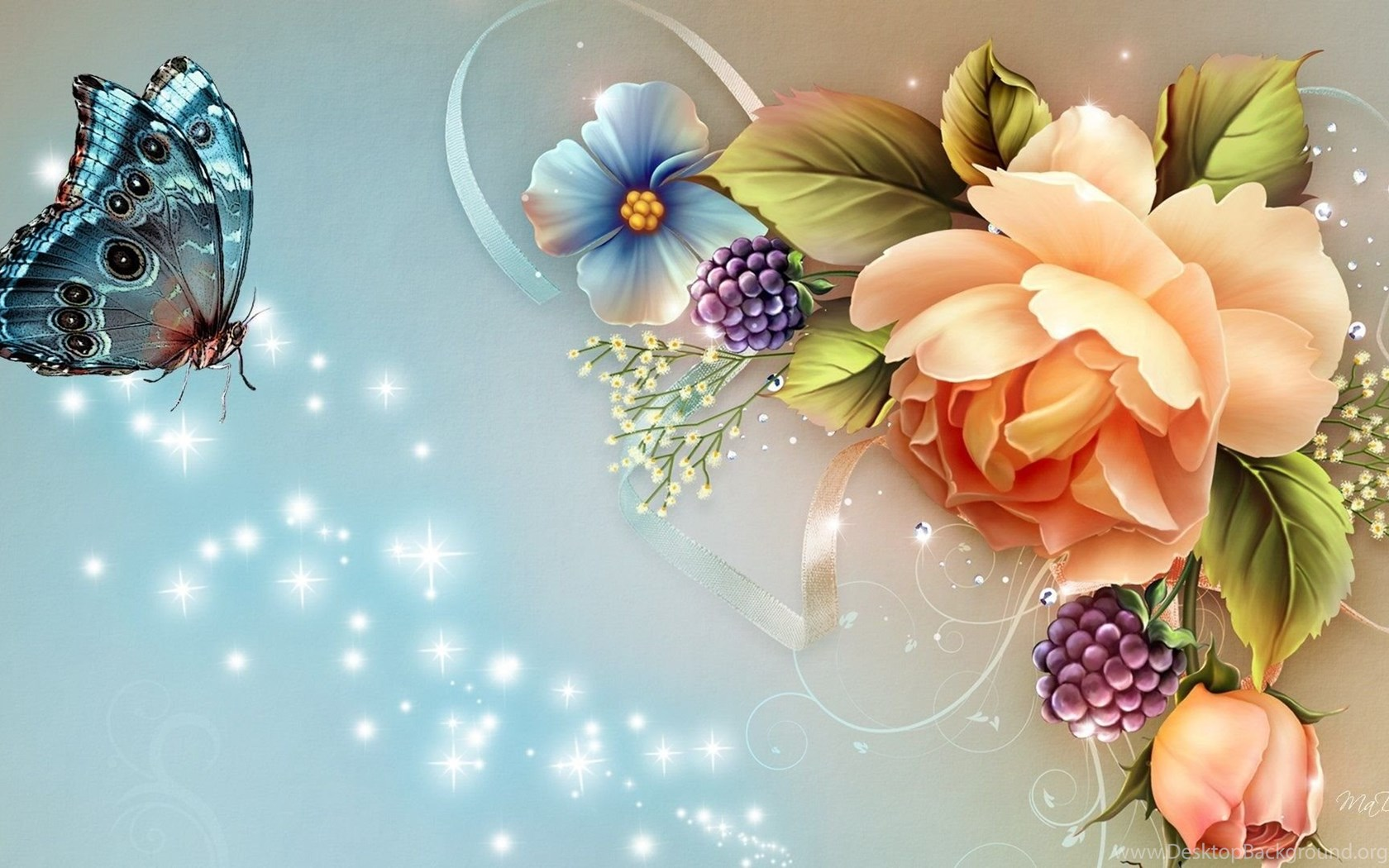 Flower With Butterfly Wallpapers Hd Download High Quality Desktop