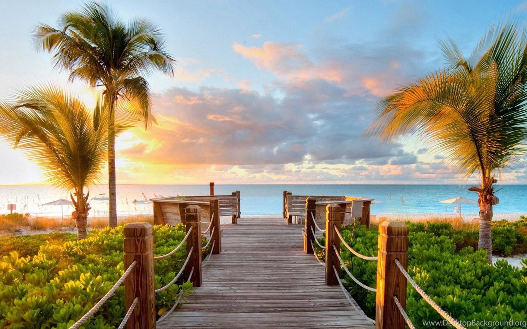 Tropical Summer Beach And View Of The Sea Bridge