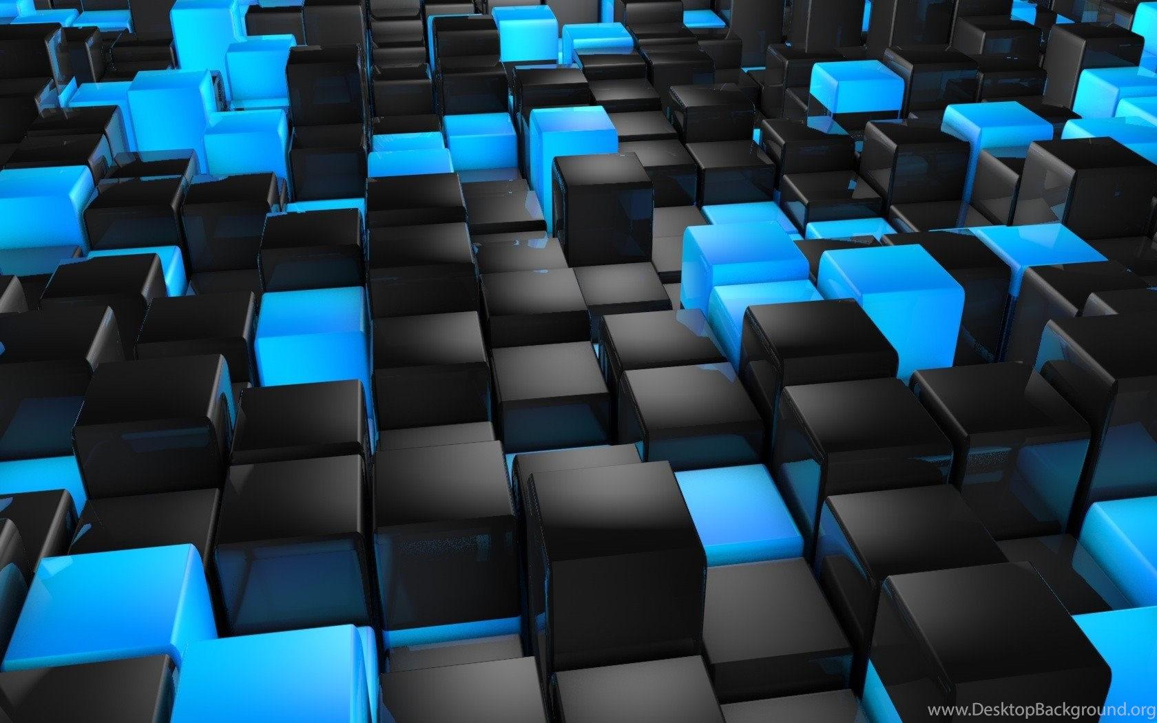 Cool Pc Wallpapers 3d Black And Blue Cubes Wallpapers 1920x1200