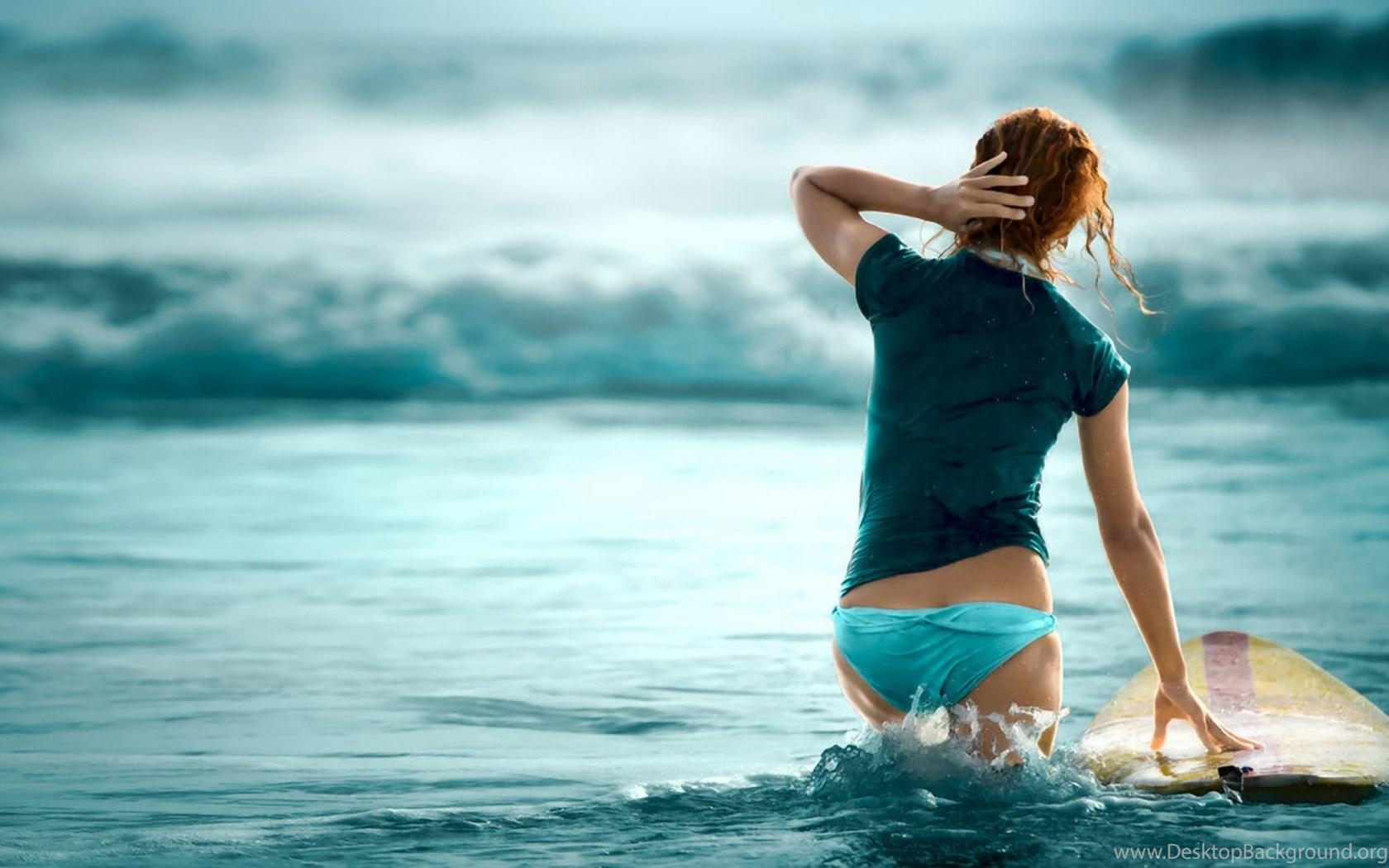 Bikini Girl Beach Surfing Green Shirt Blue Wave Hd Wallpapers