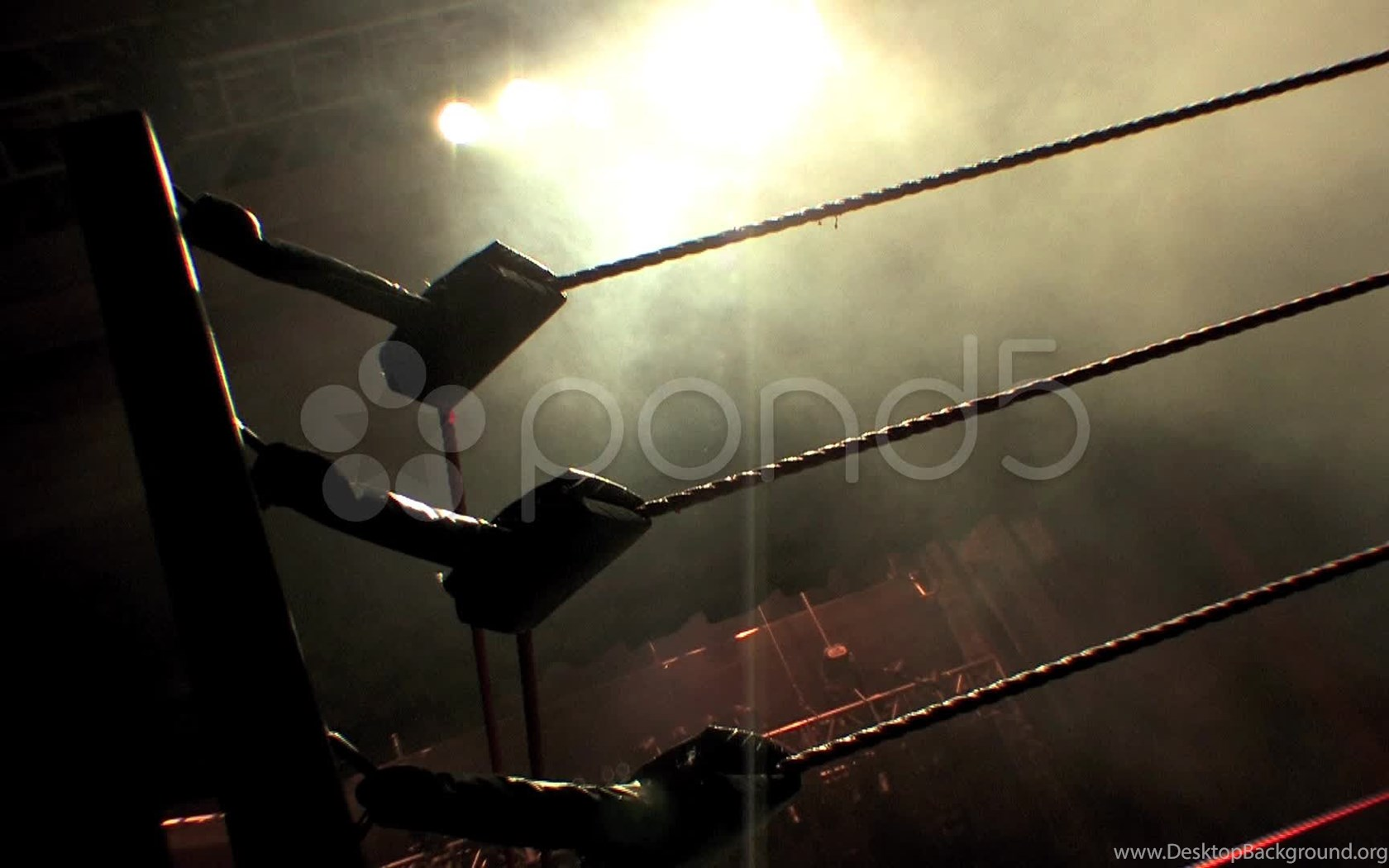 Pro Wrestling Ring Ropes Silhouette And Smoke Hd Stock Video Desktop Background