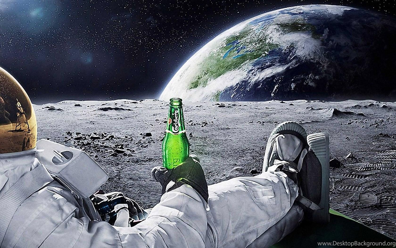 Bro Code Beer Hd Wallpaper: Astronaut Drinking Carlsberg Beer Moon Space Wallpapers