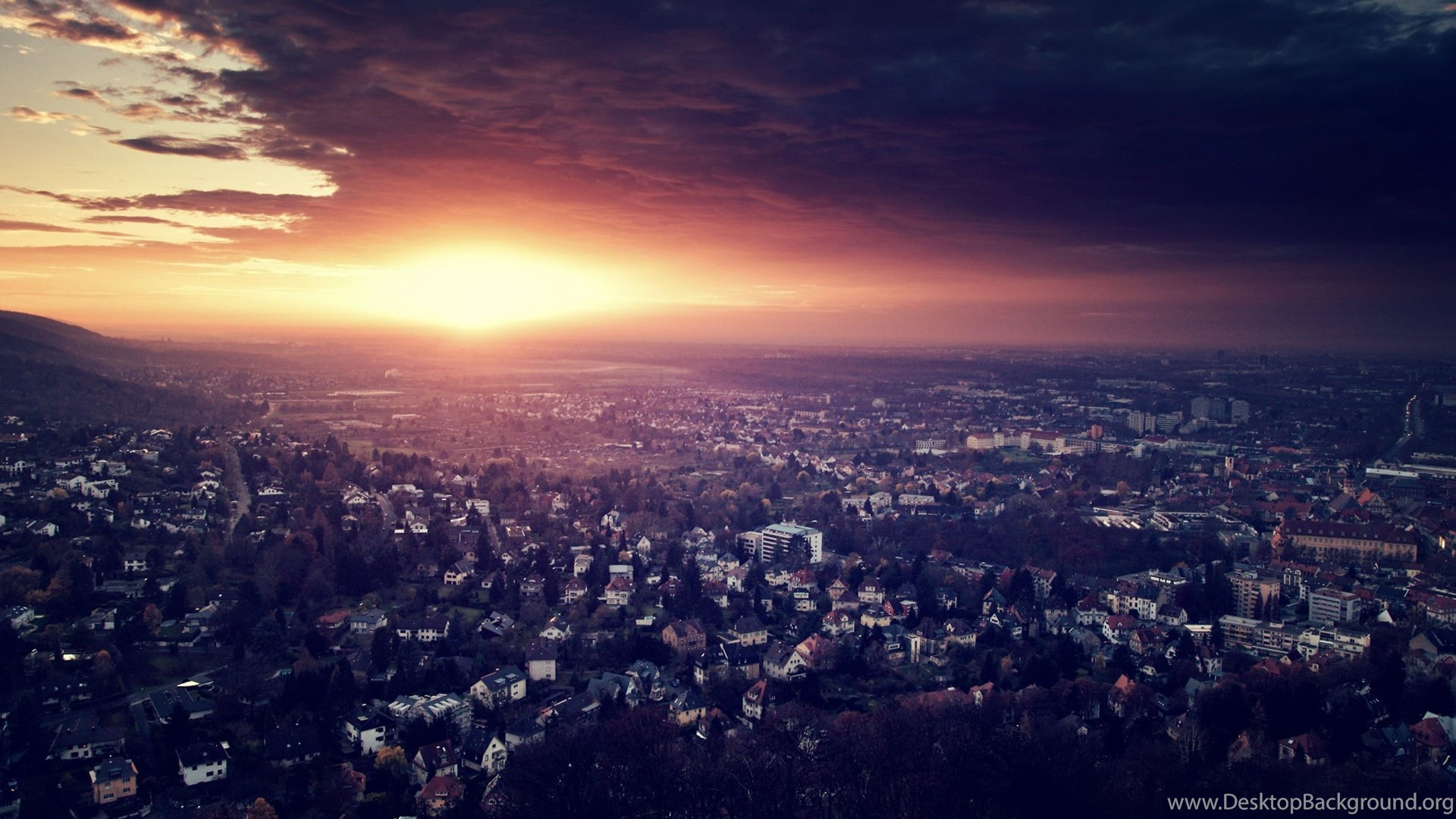 Download Wallpapers 3840x2400 City, Night, Top View, Light