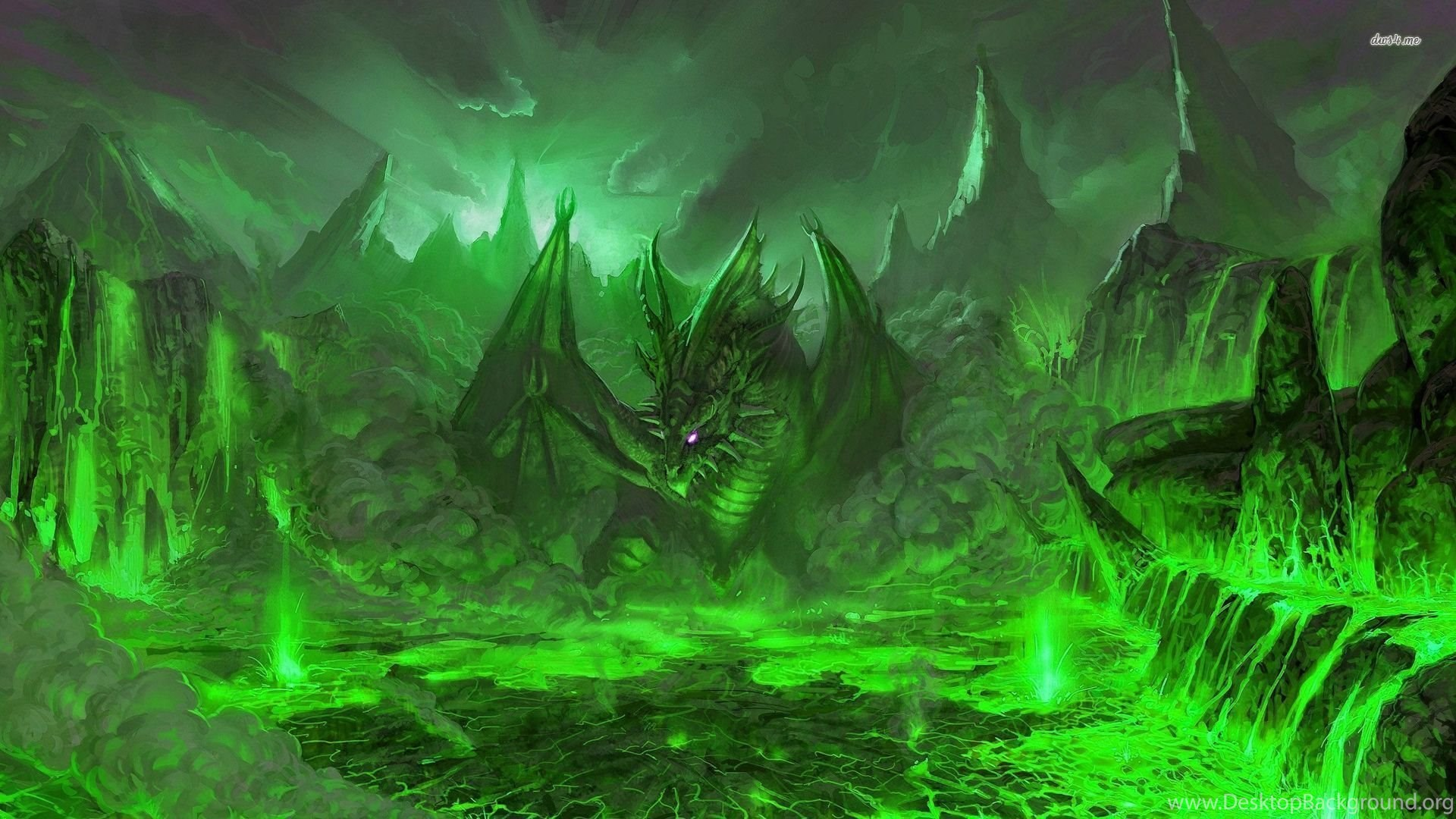 Green Dragon In The Volcano Wallpapers Fantasy Wallpapers Desktop