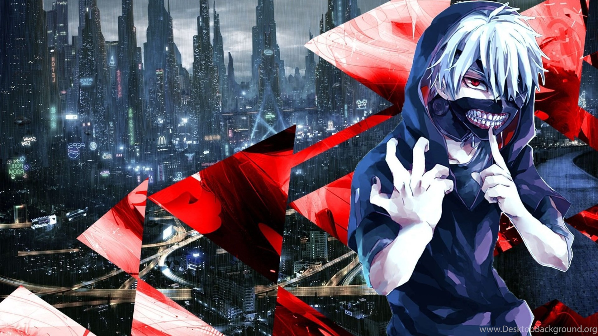 Tokyo Ghoul Kaneki Ken Blue Red Abstract Anime Wallpapers Hd Desktop Background