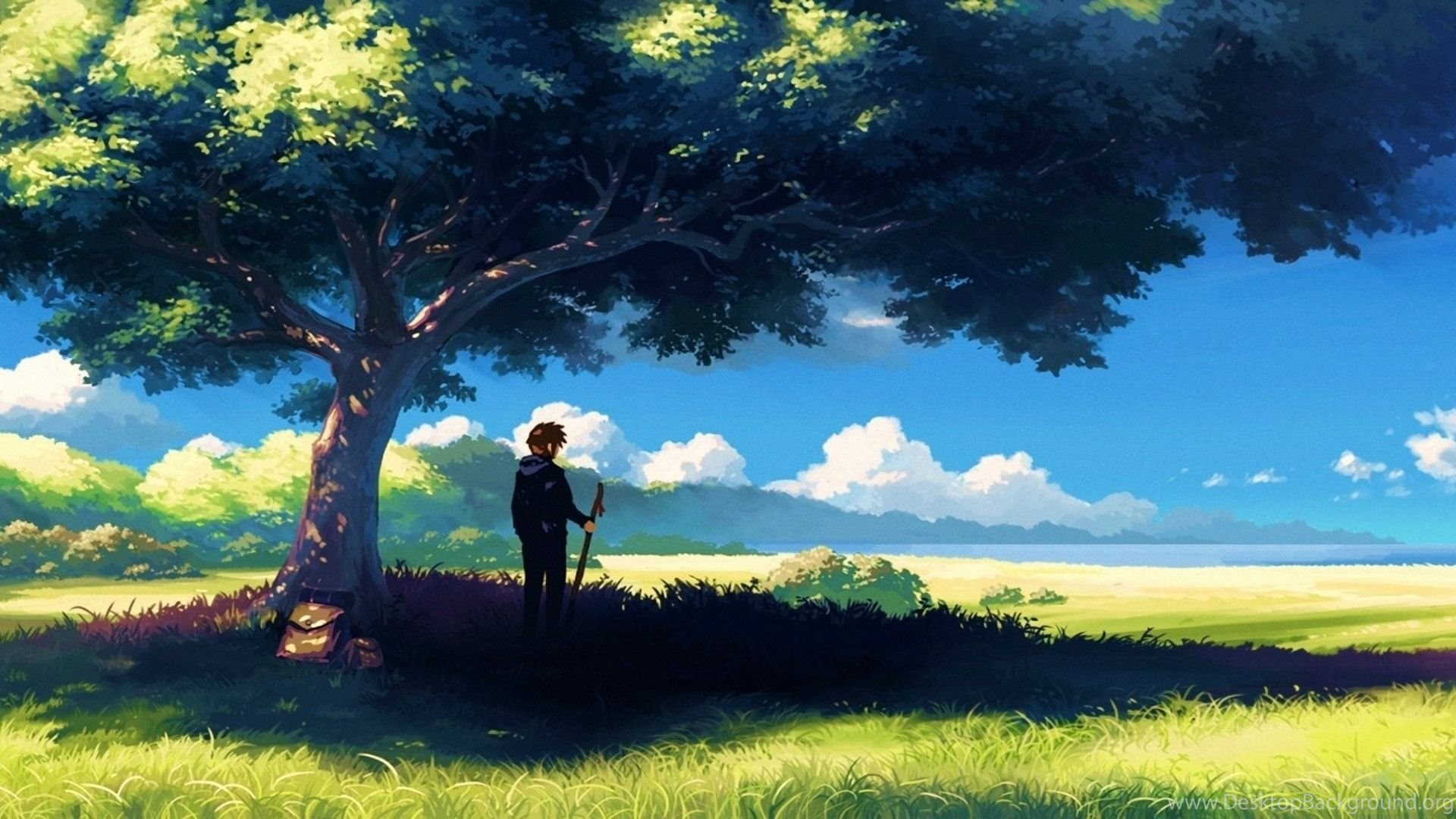1920x1080 Anime, Scenery, Boy Under Tree, Anime Scenery ...