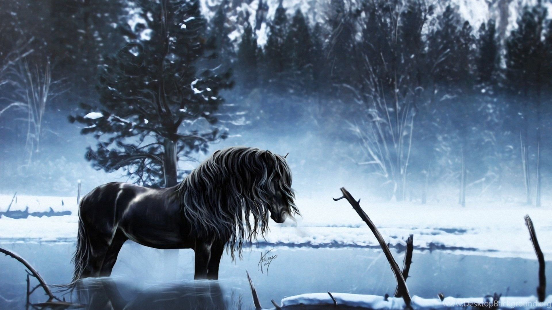Horses Fantasy Horse Animal Water Horses Art Winter Wallpapers Desktop Background