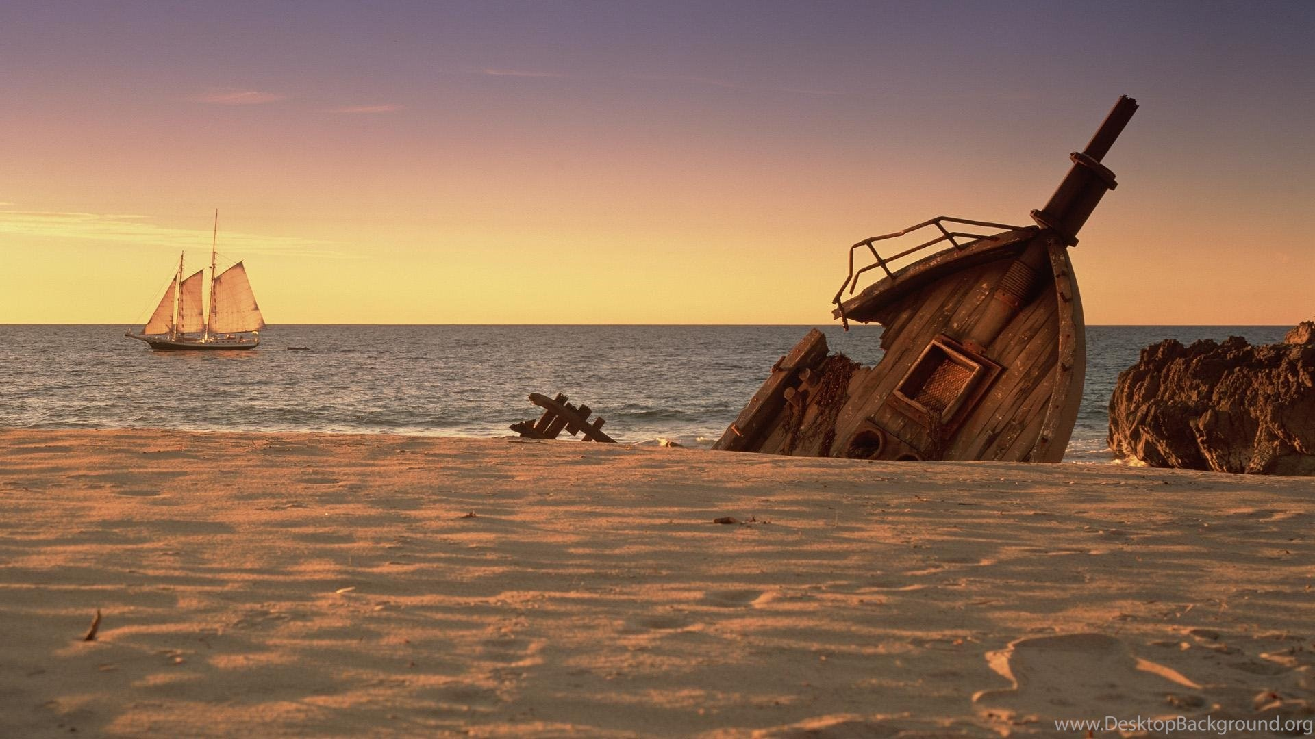 Sailing By A Shipwreck HD Wallpaper Get It Now Desktop Background