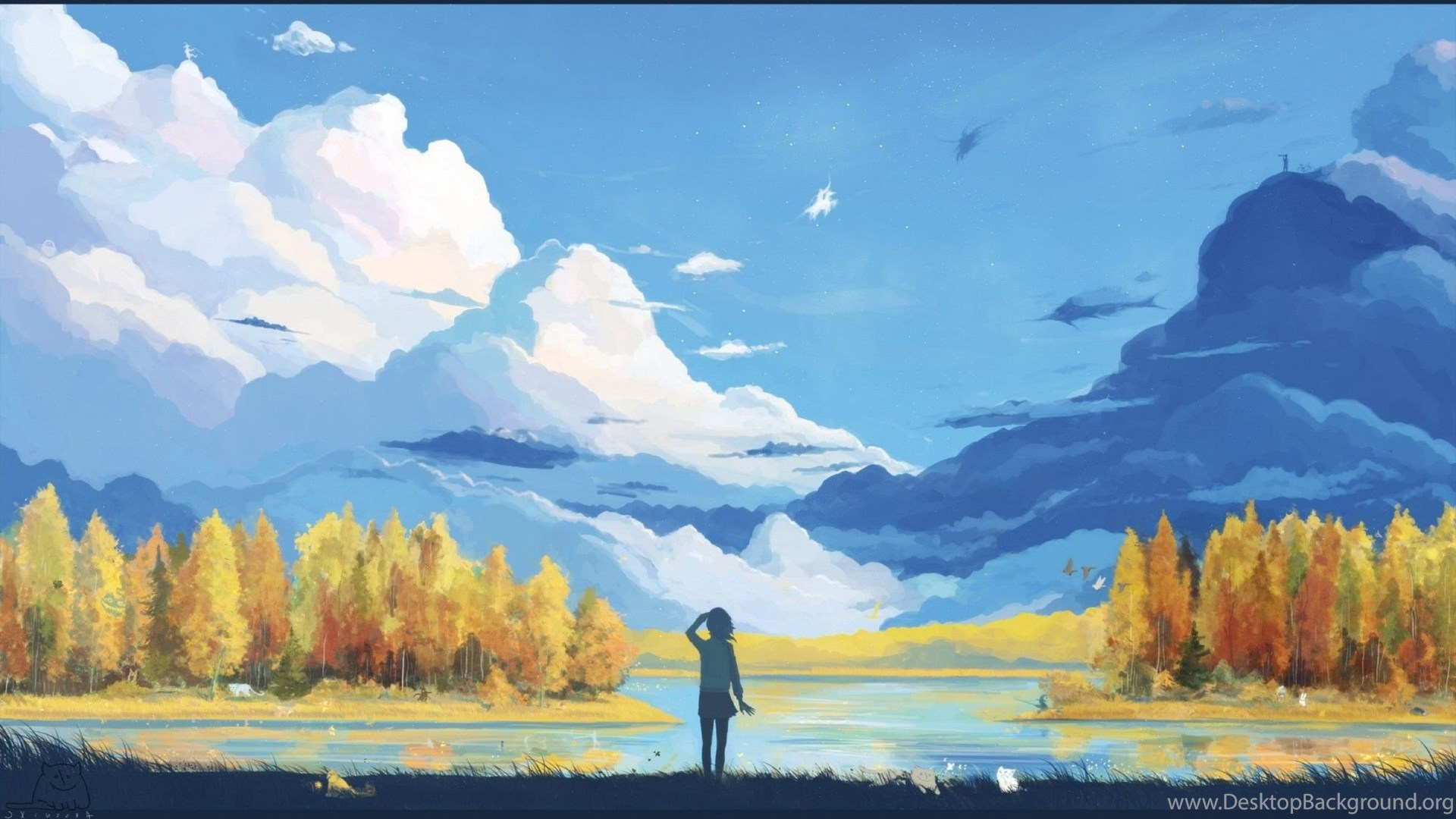 Anime Landscape Nature Fantasy Art Minimalism Wallpapers Hd
