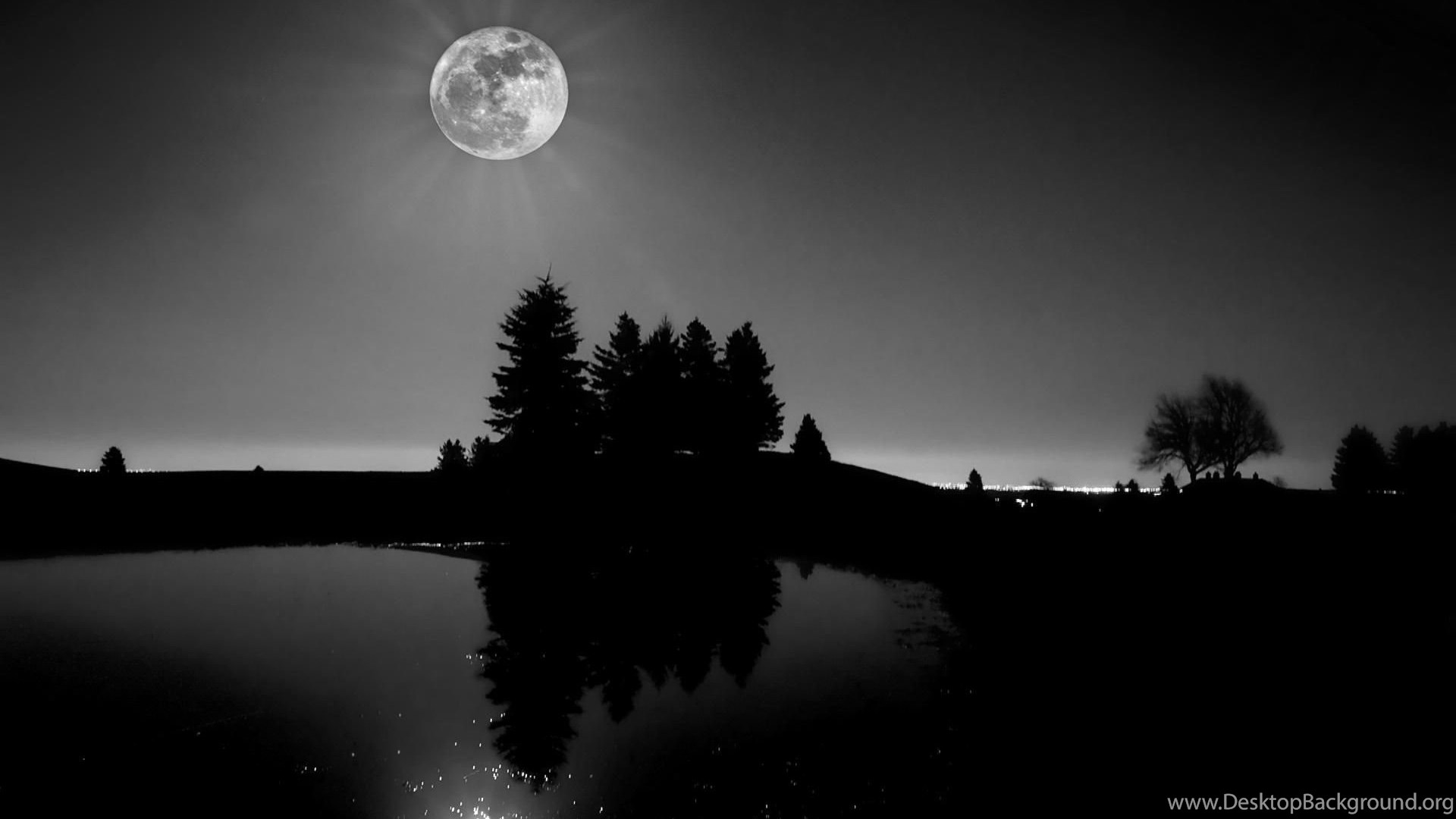 Nature Landscape Black And White Moon Light Wallpaper Black And Desktop Background