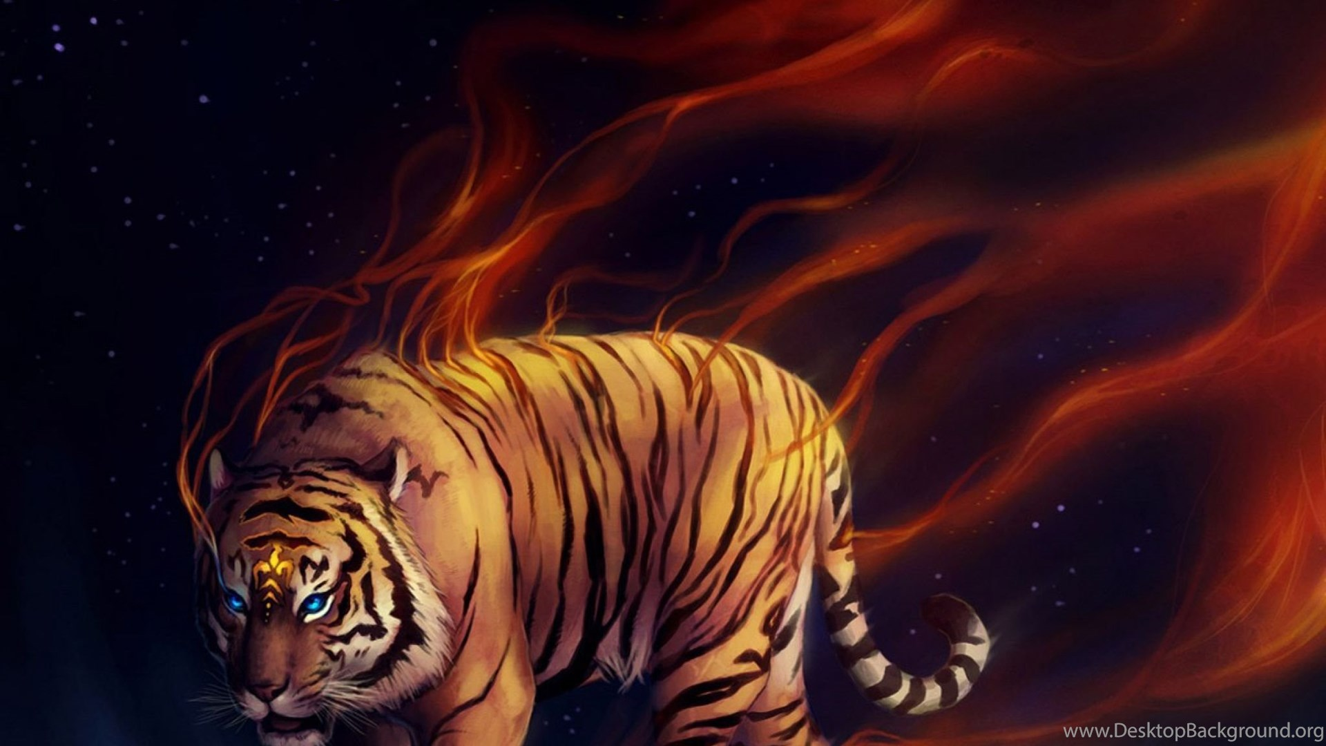 Download Wallpapers 2048x2048 Tiger, Abstract, Moon, Art