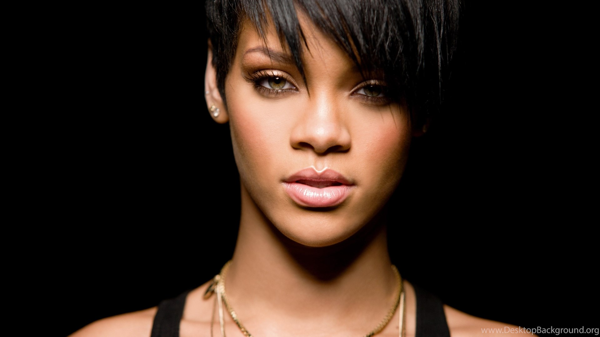 Rihanna, Black, Face, Short Hair, Dark Hair, Women, Singer ...
