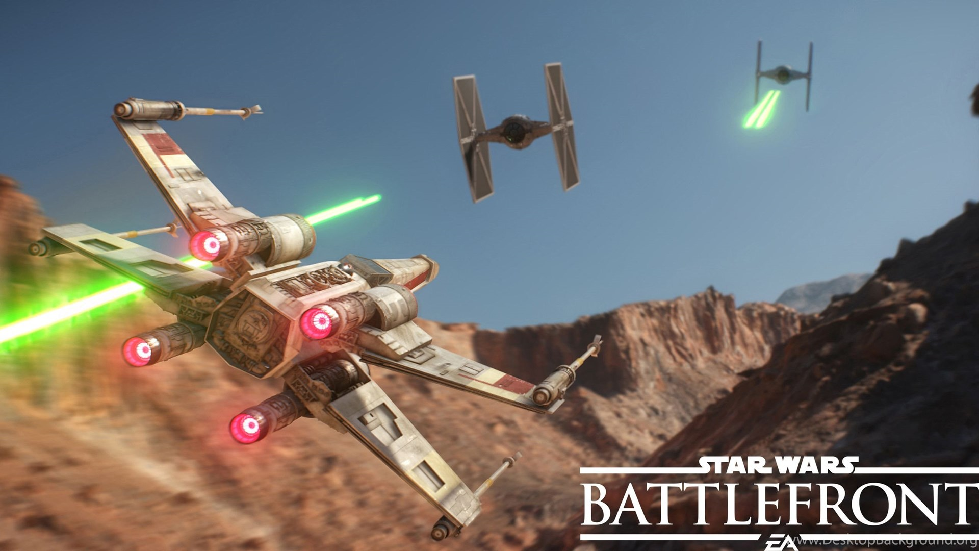 451073 x wing chasing tie fighters in star wars battlefront