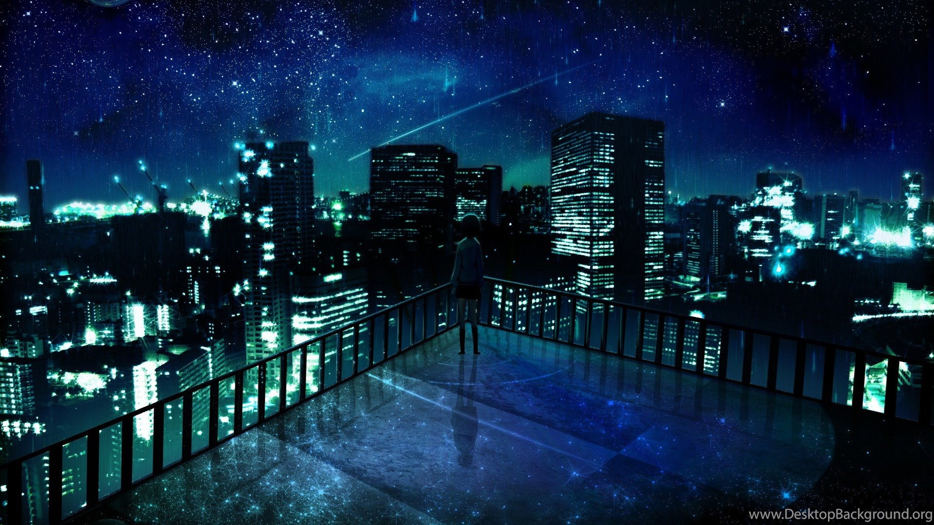 Outer Space Cityscapes Night Stars Alone Balcony Buildings City ...