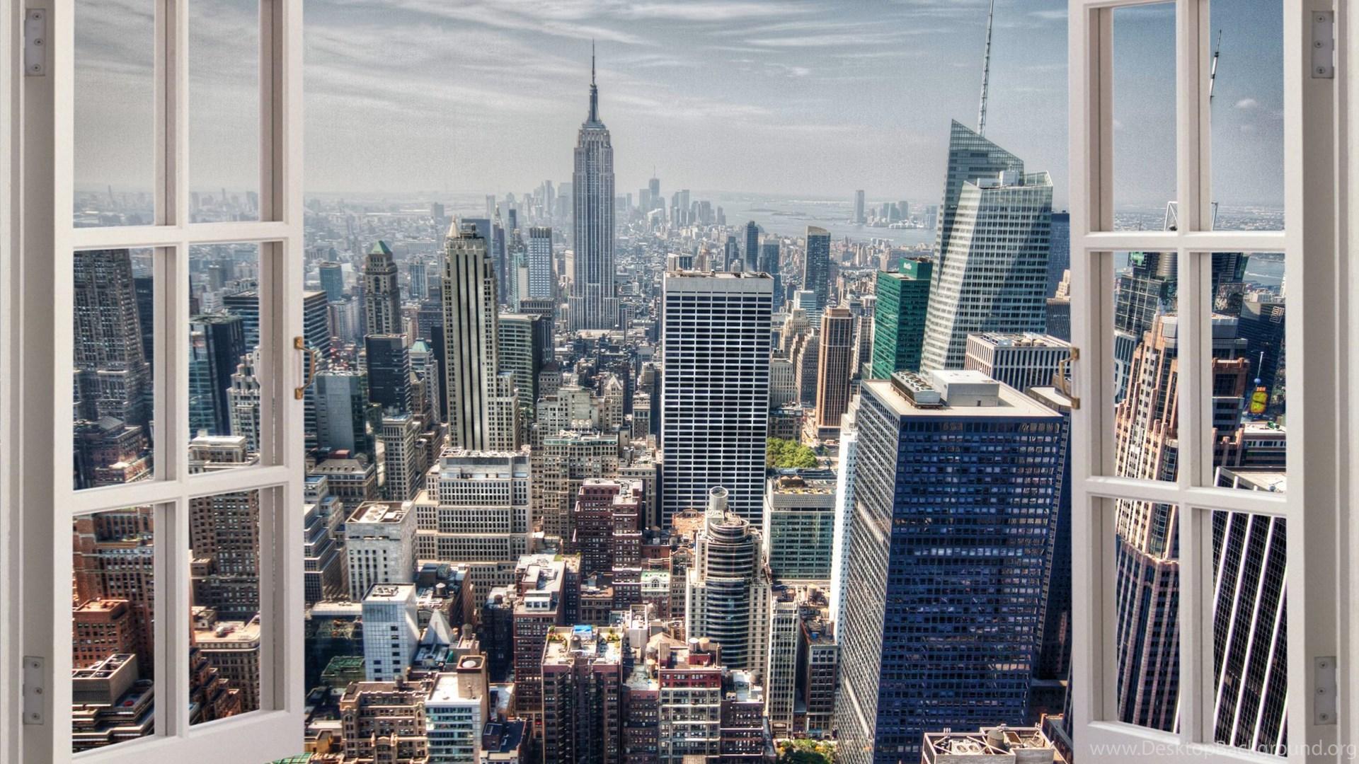 Huge 3d Window New York City View Wall Stickers Film Mural Art Desktop Background