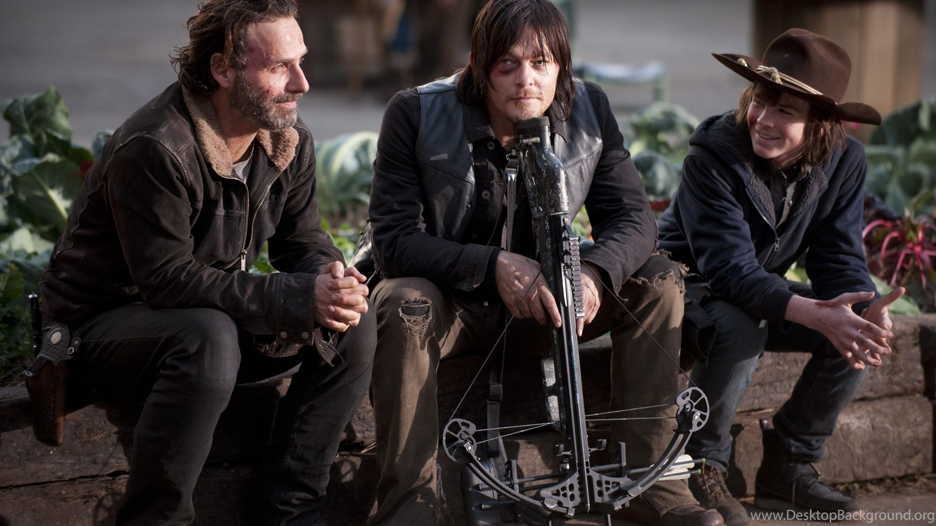 Rick And His Son And Daryl From The Walking Dead Wallpapers And