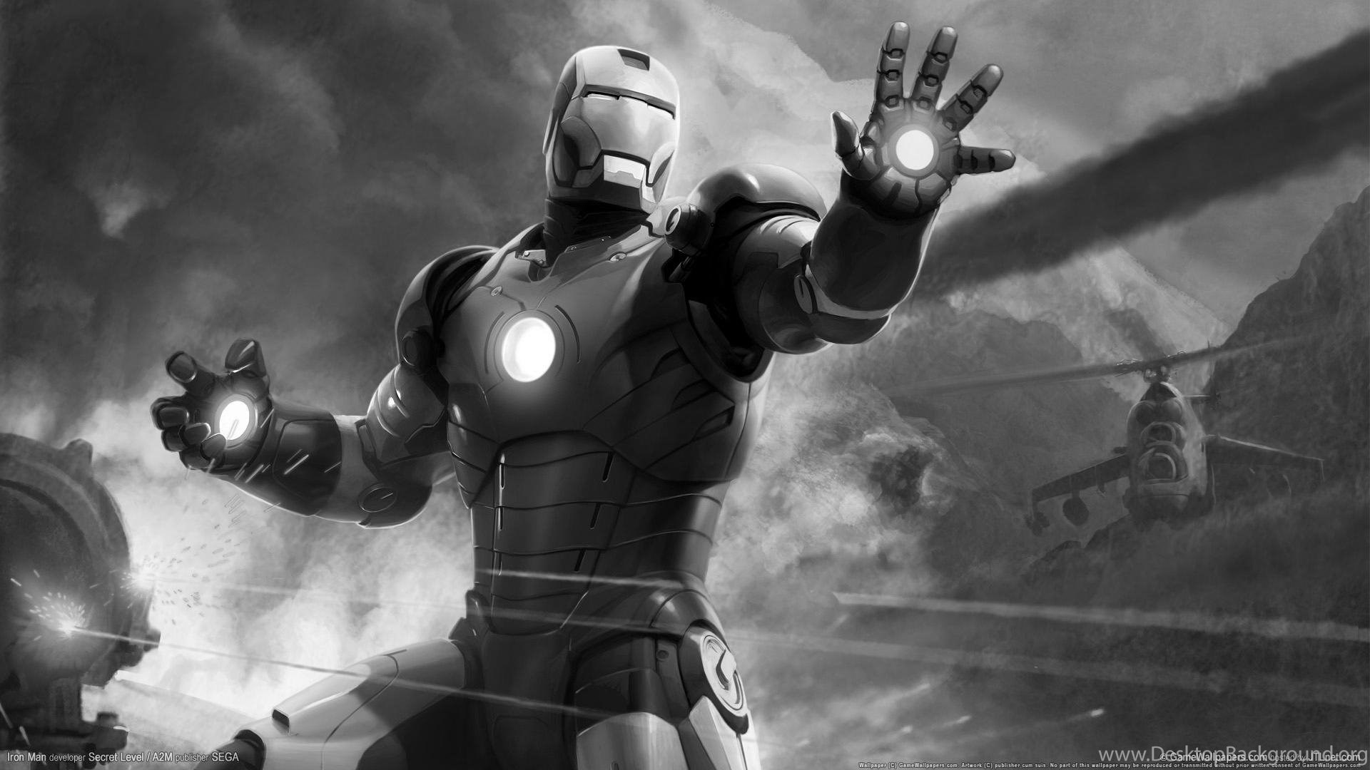 Games Black And White Iron Man Hd Game Wallpaper Black And White Desktop Background