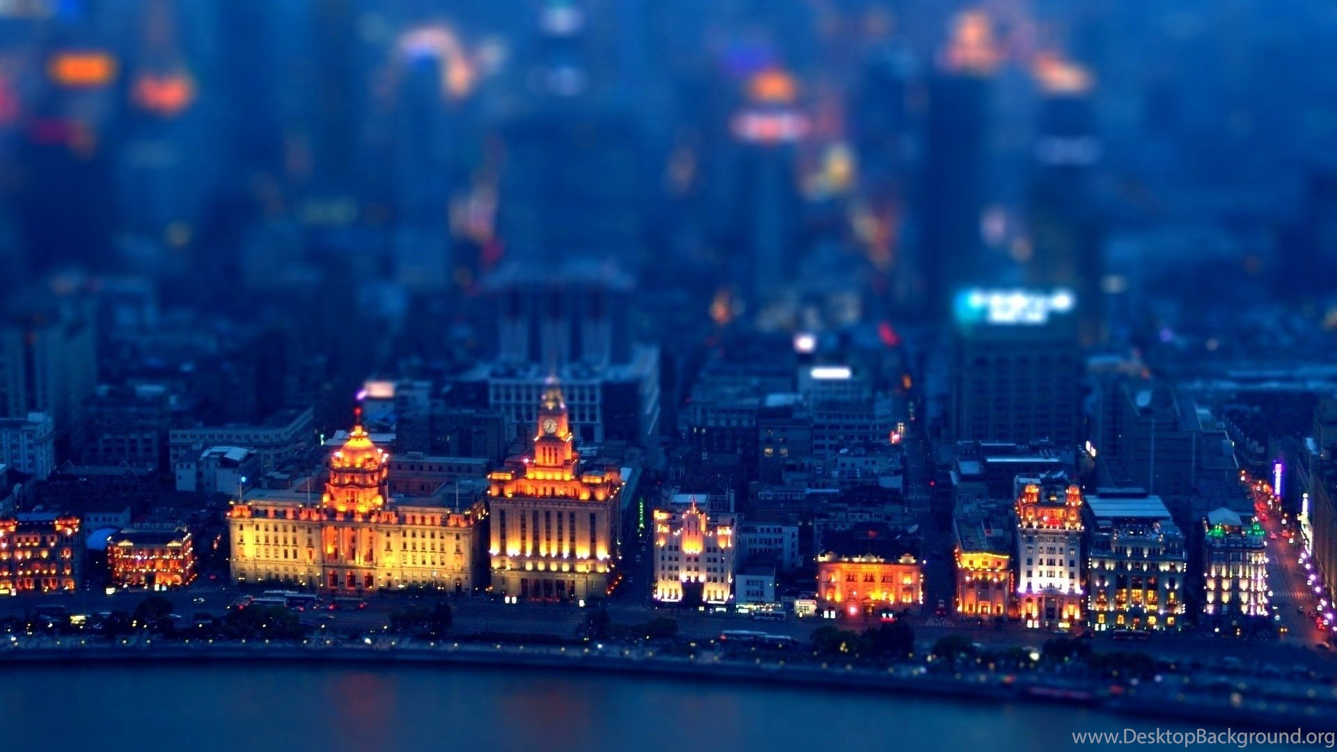 miniature city at night seafront tilt shift desktop wallpapers