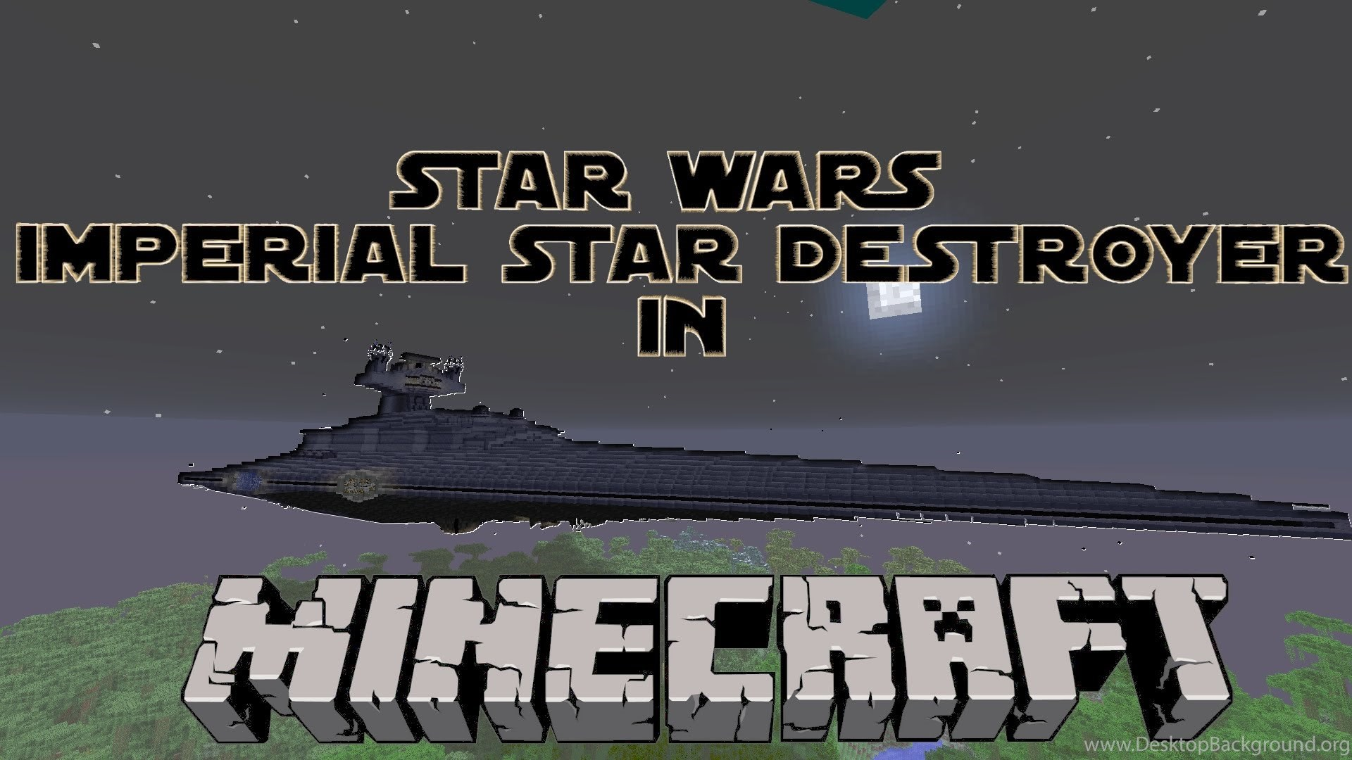 Imperial Star Destroyer In Minecraft Desktop Background