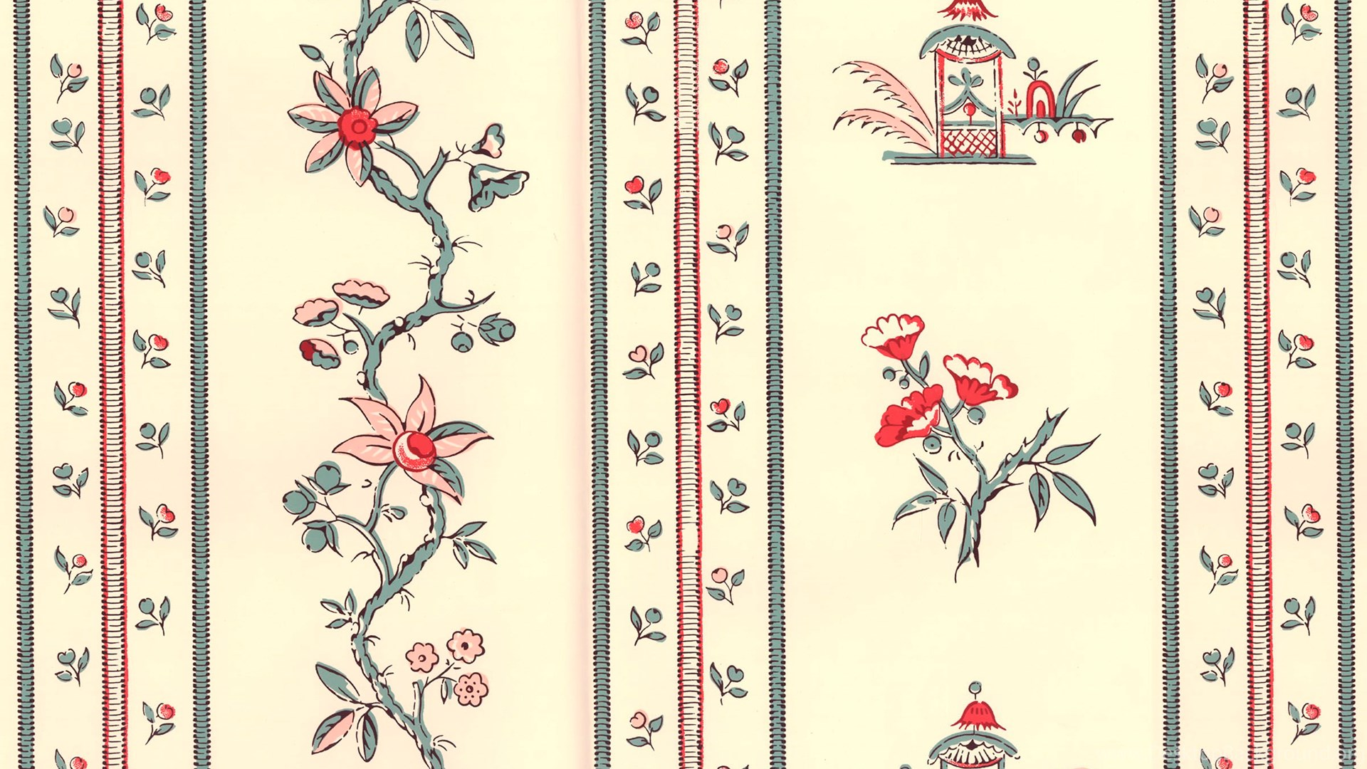 Paper Wallpapers Traditional Floral East India Stripe Wbp