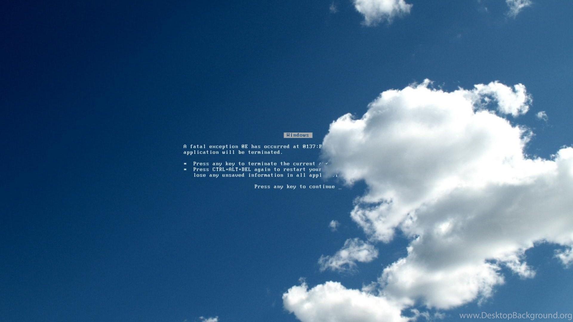 Clouds Blue Screen Of Death Bsod 1920x1200 Desktop Background
