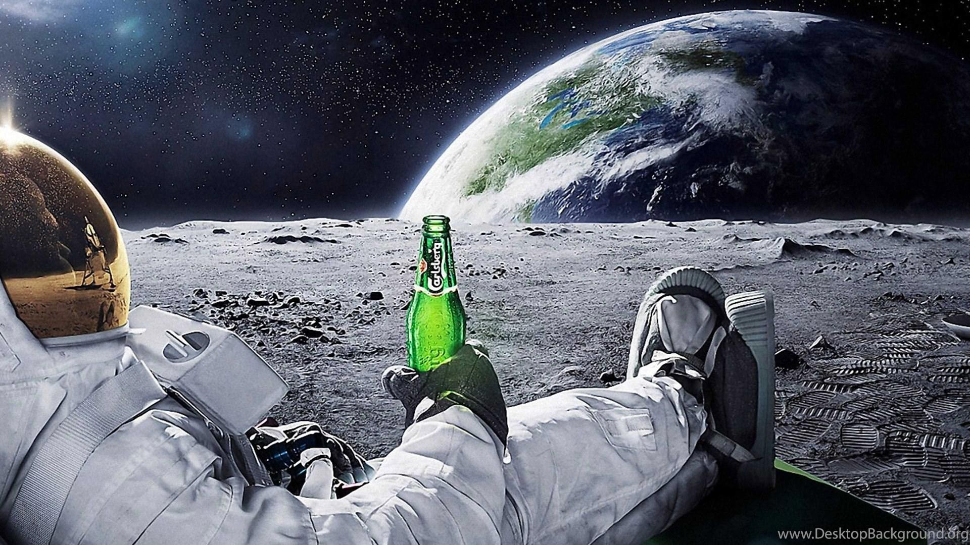 Astronaut Drinking Carlsberg Beer Moon Space Wallpapers