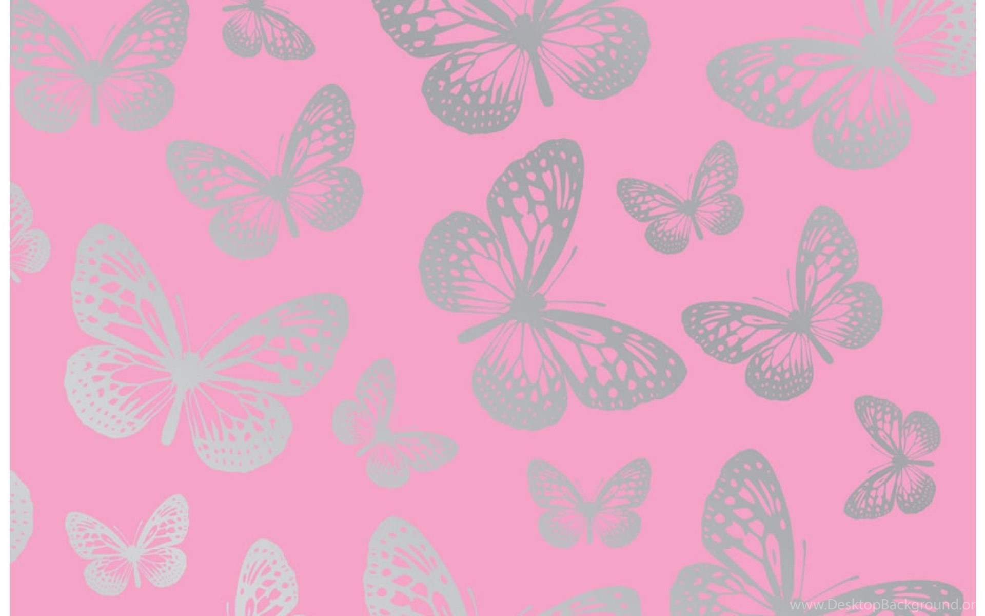 Pink and silver butterfly wallpapers pattern desktop for Pink and silver wallpaper