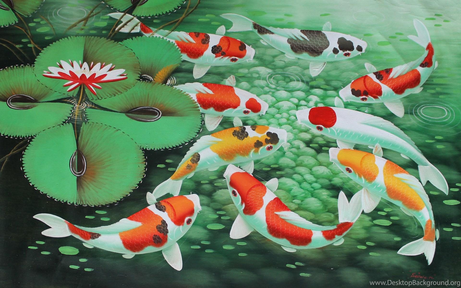 Koi Fish Painting Wallpaper Desktop Background