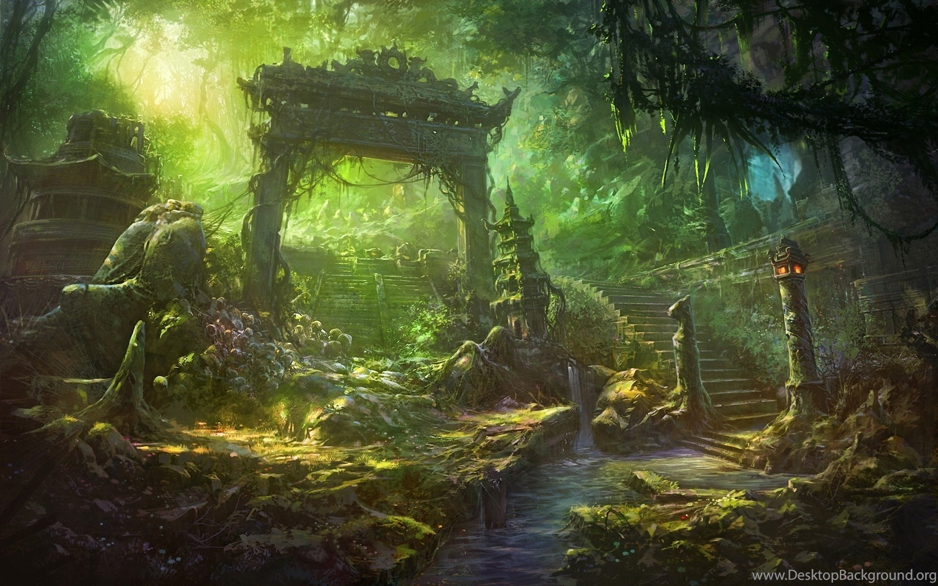 Anime Fantasy Forest Landscape Wallpapers Desktop Background