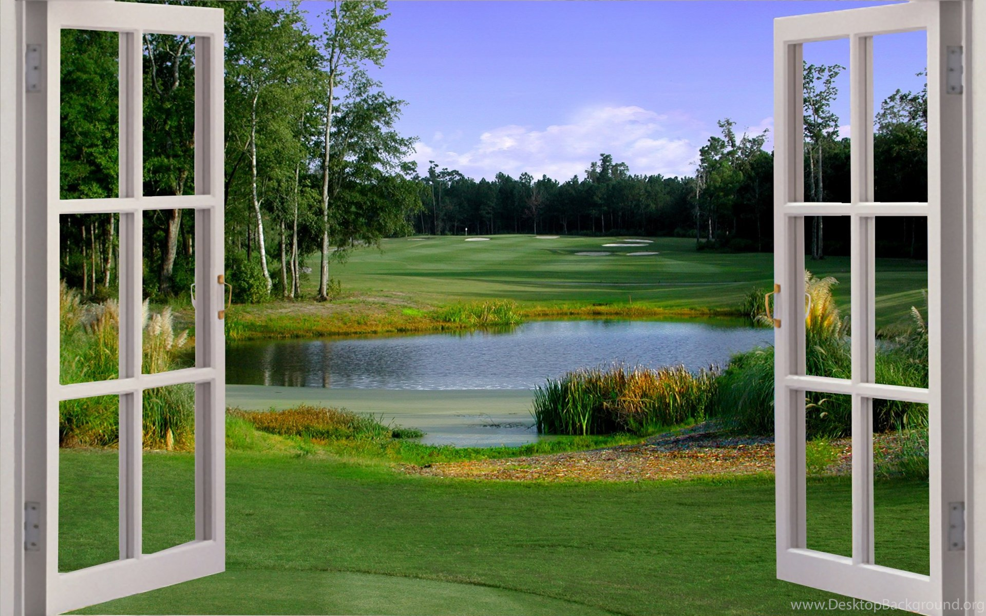 Gardens Wallpaper Huge 3d Window Golf Fairway View Wall