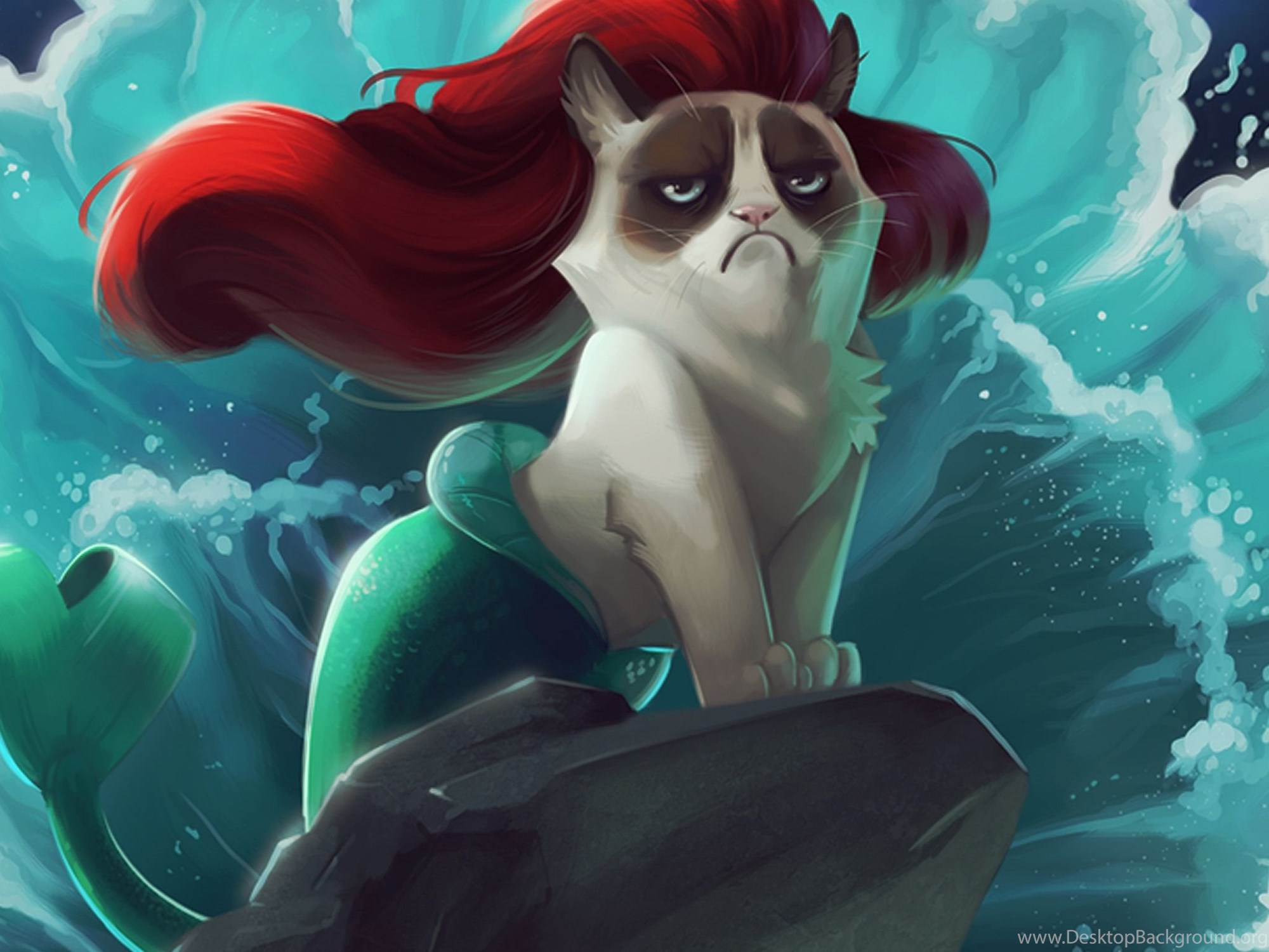 Download Wallpapers 2048x2048 Cat, Mermaid, Cartoon, Grumpy Cat New