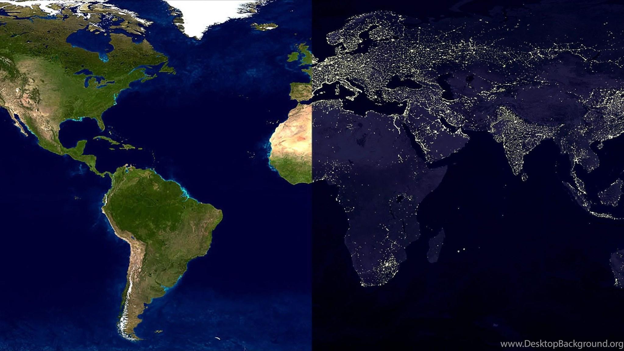 Maps Daylight World Map Nighttime Wallpapers Desktop Background - World map screen wallpaper
