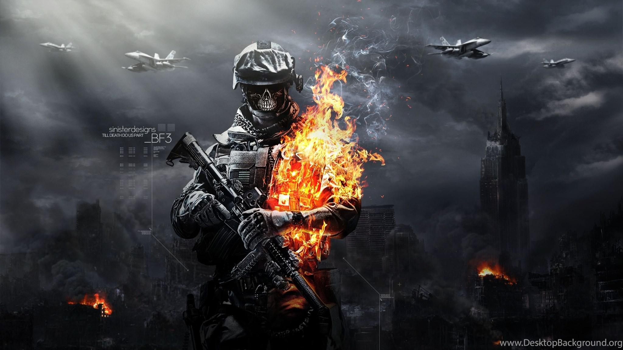 Download Hd Battlefield 3 Skull Fire Gun Ammunition Wallpapers