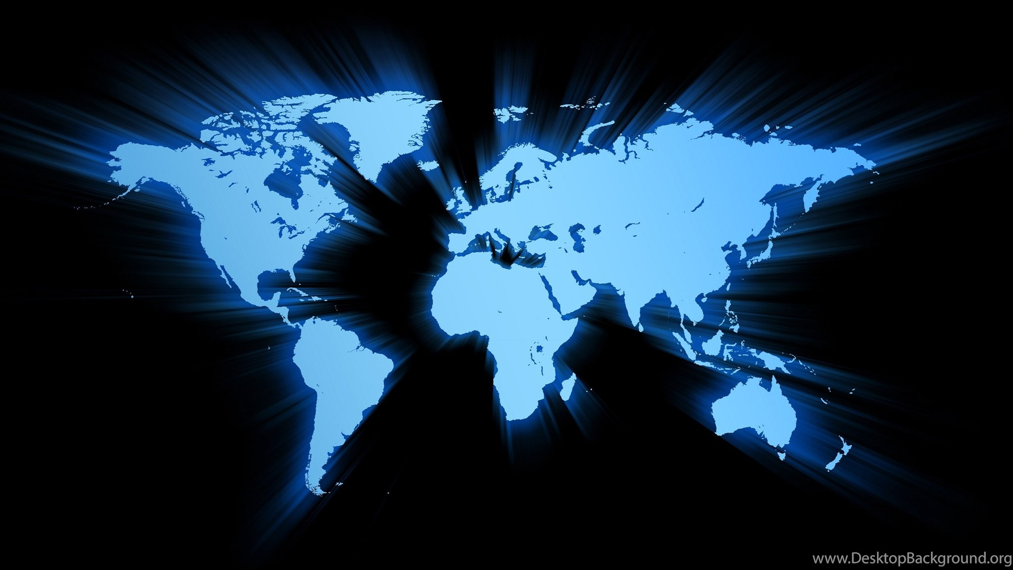 Black Blue World Map Of The Wallpapers For PC Desktop Background - World map screen wallpaper