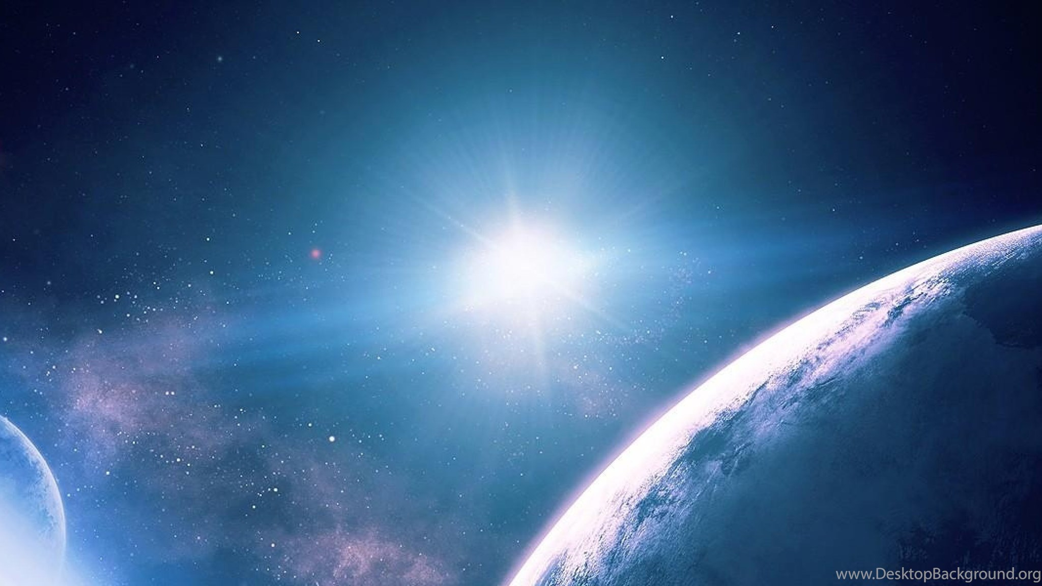 download wallpapers 3840x1200 planets, stars, rays, galaxy dual